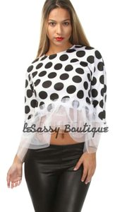 5th Culture Polka Dot Black Top White