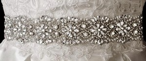 Ivory/Silver Elaborate Rhinestone and Pearl Beaded Dress Belt Sash