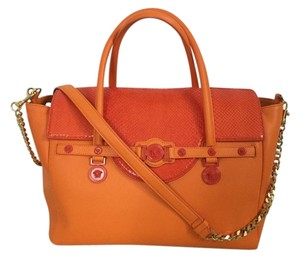 Versace Medusa Snakeskin Satchel in Orange