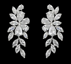 Floral Cz Crystal Wedding And Formal Earrings