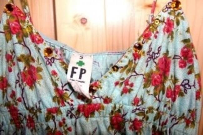 Free People Sequins Beads Top Green floral multi print