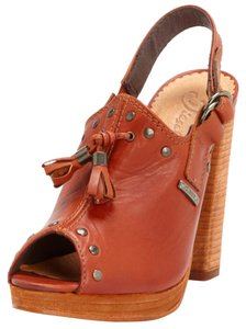 Diesel Leather Studded Platform Leather Brown Mules