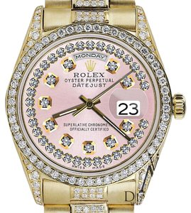 Rolex Rolex Presidential Day Date Pink String Dial Diamond Watch 18 KT Yellow Gold