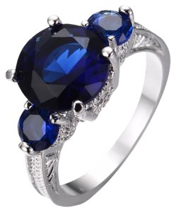 Other Blue Sapphire White Gold Filled Ring 9