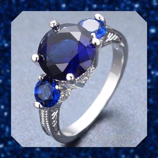 Other Blue Sapphire White Gold Filled Ring 9 Image 3