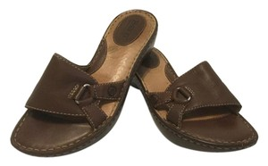 Børn Padded Insoles Slip On Brown leather Wedges