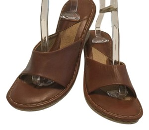 Børn Padded Insoles Open Toe Slip On Espadrille Brown leather Wedges
