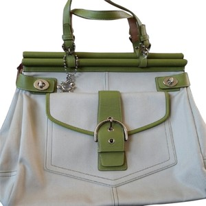 Coach Purse Satchel in Cream and grey