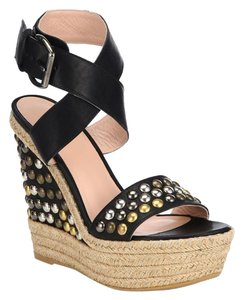 Stuart Weitzman Hubcaps Studded Wedge Black Sandals