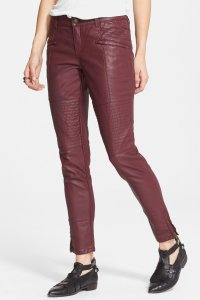 Free People Zip Cuffs Quilted Thighs Skinny Pants Maroon