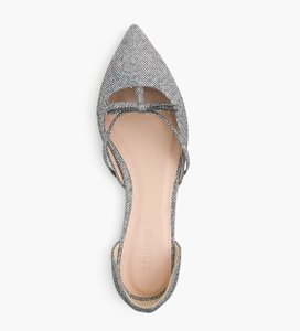 J.Crew Leather Brand Name silver Flats