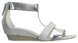 Vic Matié Leather Cut-out Open Toe Wedge Metallic Off-white/Silver Sandals
