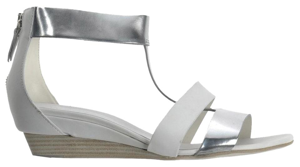 9dc52dc3b03 Vic Matié Leather Cut-out Open Toe Wedge Metallic Off-white Silver Sandals  ...