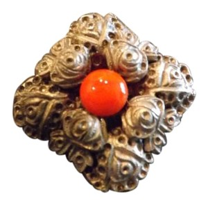 Vintage Rose Flower Pin Wonderful Intricate Roses with Bright Coral Stone in Center