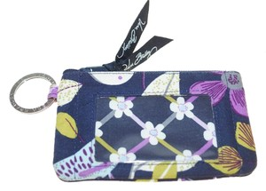 Vera Bradley Small Vera Bradley Purple Nightingale ID Holder Change Wallet Keyring 5x3.5