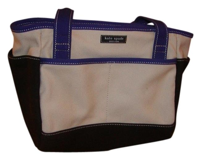 Item - Natural W/Brown and Purple Color Blocking Canvas Satchel