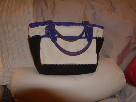 Kate Spade Satchel in Natural w/brown and purple color blocking Image 1