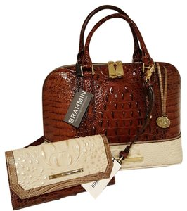 Brahmin Pecan Leather Wallet Set Satchel in Vivian Coquette Pecan/Cream