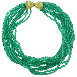 Kenneth Jay Lane Kenneth Jay Lane Green Glass Bead Torsade Necklace