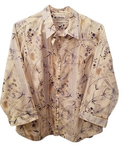 Colombia Sportswear Button Down Shirt Cream/blue