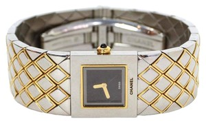 Chanel ($4800) Chanel Two Tone Quilted Matelasse Watch IN Siver/Gold (Super Rare)