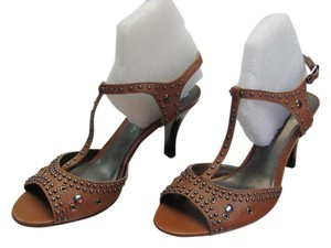 Antonio Melani Leather Upper Size 8.00 M Brown, Sandals