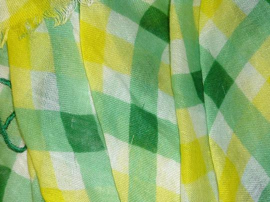 Juicy Couture Juicy Couture Green Angel Check Large Fringe Shawl/Scarf