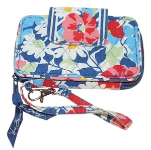 Vera Bradley Small Summer Cottage Navy Blue Pink Red Daisy Flowers Organizer Wristlet Wallet 5.5x3.5