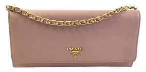 Prada Leather Saffiano Wallet Chain Orchid Shoulder Bag