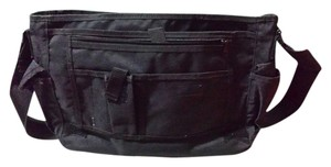 Structure Pockets Zippered Velcro Adjustable Strap Black Messenger Bag