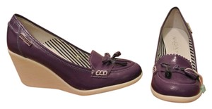 KRIZIAPOI Italian Patent Leather Purple Wedges