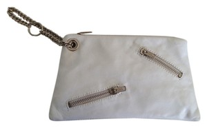 Leather Clutch Wristlet in White