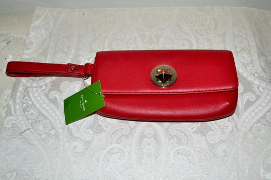 Kate Spade Leather Cell Phone Case Purse Turnlock Wristlet in Red Image 1