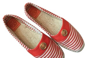 Tory Burch Red/beige stripe with gold Tory Burch emblem Flats