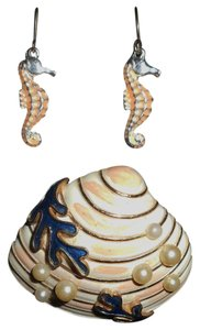 Trifari Crown Trifari Enameled Sea Shell Brooch with Faux Pearls and Coral