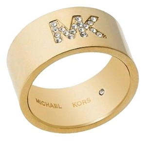 Michael Kors NWT Michael Kors Gold Tone Barrel Band Ring Rhinestone Logo Size 7