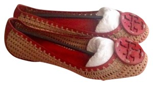 Tory Burch Ballet Red and Tan Flats