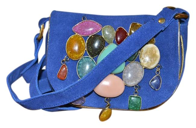 Item - Paris Stone Embellished Goat Pouch Blue Suede Cross Body Bag