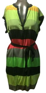 Twelfth St. by Cynthia Vincent short dress Multi Stripe Print Silk Cap Sleeve on Tradesy