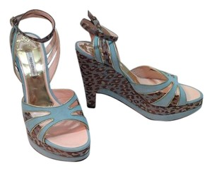 Pollini Leopard Platform Wedge Blue Sandals