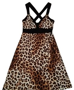 Guess short dress Leopard brown beige Junior Summer Cocktail on Tradesy