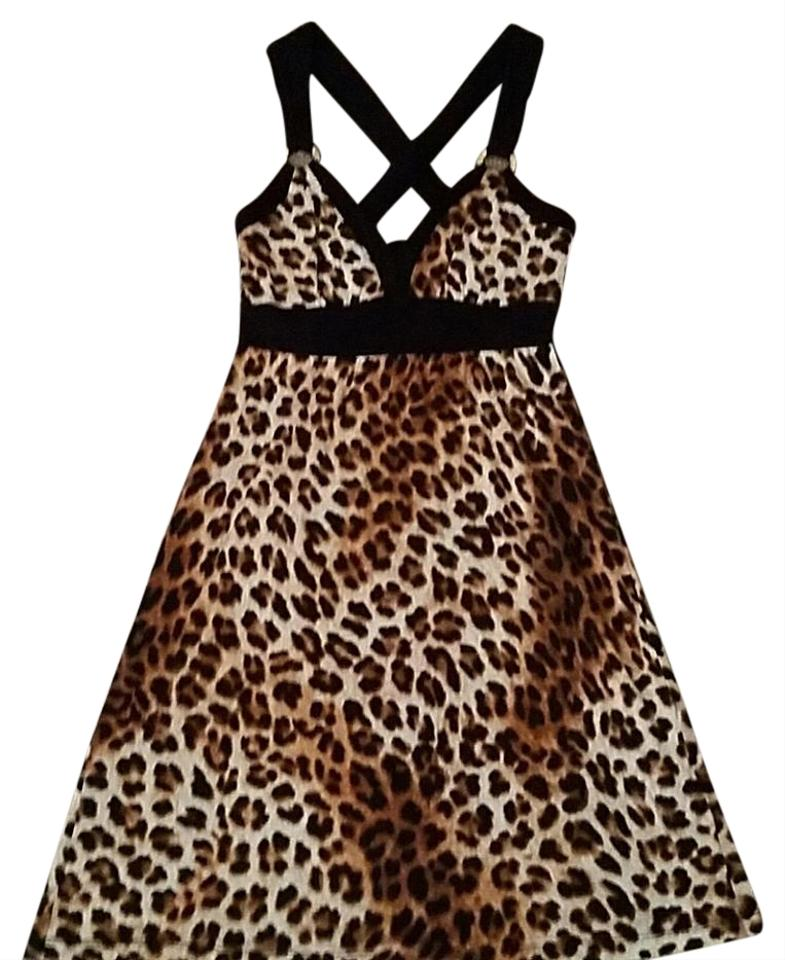 3c8408114c Guess Leopard Brown Beige Above Knee Short Casual Dress Size 2 (XS ...