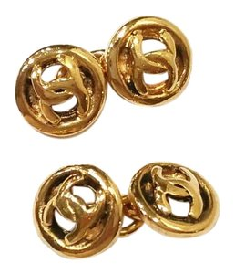 Chanel Authentic Vintage Chanel Gold Plated Mini CC Round Cuff Link