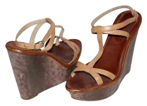 Elizabeth and James Leather Wedge Lizard Ankle Strap Beige Sandals