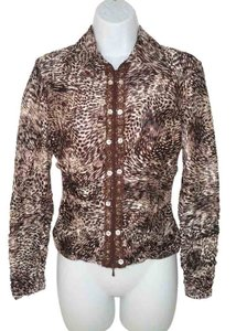 Alberto Makali Animal Print Mesh Knit Draped Cardigan