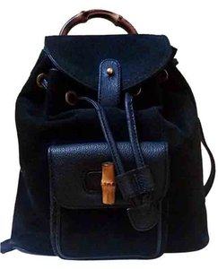 Gucci Italy Bamboo Suede Leather Backpack
