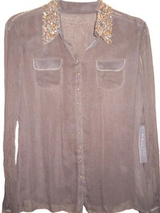 Elie Tahari Rhea 100% Silk Sheer Sequin Collar Button Down Shirt Black