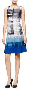 Calvin Klein Watercolor Blue Gray Dress