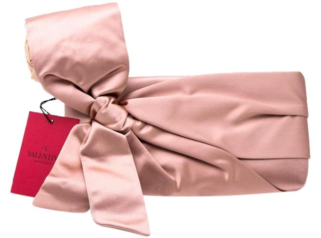Valentino Bow Embellished Pink Satin Clutch Valentino Bow Embellished Pink Satin Clutch Image 1