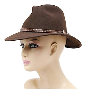 Biltmore BILTMORE 'Hunt Club' Chocolate Wool Felt FEDORA Hat w/Braid Leather Trim-Sz 7.25
